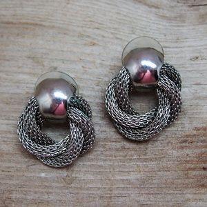 Mesh Twisted Hoop Door Knocker VTG Earrings